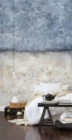 Wallpainting (P150102-4) - Mr Perswall Wallpapers - A captivated concrete image shown as a painted effect in soft cream and blue colouring. Works well horizontally or vertically. Total mural size - 180cm wide x 265cm high.  Paste-the-wall product.