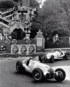 1937 Monaco GP: Von Brauchitsch and Caracciola, Mercedes Benz W125 (unattributed)...