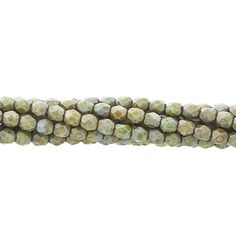 Designer Czech Glass 4mm Bead Strand, Fern Green Picasso