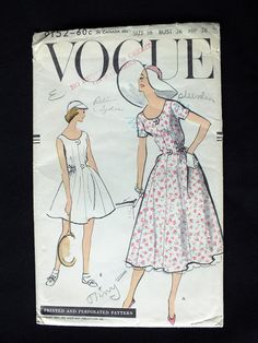 This is cute! Rare 1957 Vogue Sewing Pattern # 9152 ~ Size 16 Dress, Tennis Dress and Fitted Panties!  Complete, Uncut & Factory Folded!!!