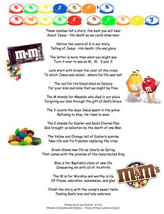 Tell the story of Jesus using everyday items. Here is a poem written to teach the story of Jesus' death and resurrection using a bag of M.