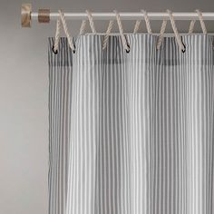 "Seychelle 84"" Rope Window Curtain Panel In Stone - Bring timeless beauty to any home décor with the Seychelle Rope Window Curtain Panel. This panel features a simple ticking stripe print and a unique rope loop hanging top, creating the perfect complement to any living space Curtains Living, Door Curtains, Hanging Curtains, Camper Curtains, Bathroom Window Curtains, Drop Cloth Curtains, Burlap Curtains, Bathroom Window Treatments, Lake House Window Treatments"