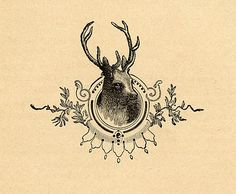 Vintage Christmas Image - Deer Head Engraving - The Graphics Fairy