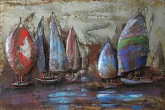 The Regatta 2 Mixed Media Iron Hand Painted Dimensional Wall Décor