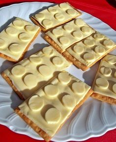 Give cheese and crackers the Lego treatment. | How To Throw The Ultimate LEGO Birthday Party