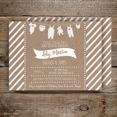 Kraft Paper Gender Neutral Baby Shower Invitation (front and back design)-5x7 Customized Printable Rustic clothes line preppy modern