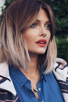 """Two-Tone Bob with Center-Parted Bangs 