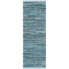 Safavieh Hand-woven Rag Rug Blue Cotton Rug (2'3 x 8') - Overstock™ Shopping - Great Deals on Safavieh Runner Rugs