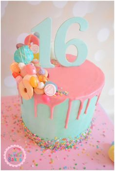 Beautiful, creative sweet 16th birthday cake