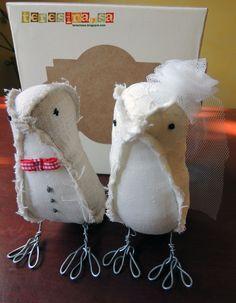 Ocells de roba nuvis pastís / Fabric Birds Wedding Cake Decor Topper / Pajaros novios pastel