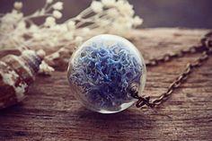 BLACK FRIDAY SALE Moss Necklace Norwegian Blue Lichen Pendant Glass Globe Jewellery Miniature Norway Reindeer Real Moss Botanical Jewelry