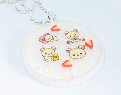 Strawberry Bear Round Cupcake Necklace Fairy Kei Necklace