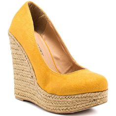 JustFab Women's Izzy - Yellow (€40) ❤ liked on Polyvore featuring shoes, pumps, wedges, heels, zapatos, platform, trendy, espadrilles, women and wedge shoes