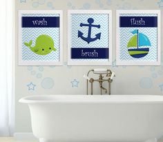 Wash brush flush kids bathroom printable wall decor, navy whale anchor and ship decor blue chevron green wall art nautical instant download  PLEASE READ  Please note, this listing is for an INSTANT DOWNLOAD of DIGITAL FILES - no print will be mailed, this listing does not include a physical item. You can print these files at home on your own printer or take them to a print shop of your choice.  Fast, easy and affordable - no shipping or waiting necessary. Purchase, Print and Enjoy…