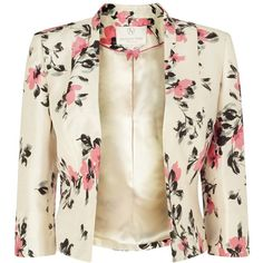 Jacques Vert Petite All Over Floral Jacket, Cream/Pink (90 BAM) ❤ liked on Polyvore featuring outerwear, jackets, blazer, coats, petite, short tailored jacket, petite jackets, short jacket, floral jacket and pink blazer