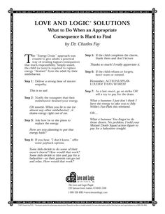 Image of: Flippant Remarks Nice Handout On Using The Energy Drain Consequences Tool From parenting With Love And Logic Pinterest 11 Best Handouts From Love And Logic Images Healthy Kids