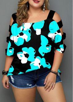 Plus Size Tops For Women Flower Print Ladder Cutout Sleeve Plus Size Blouse Plus Size Sweaters, Plus Size Blouses, Plus Size Tops, Sexy Outfits, Fashion Outfits, Womens Fashion, Fashion Clothes, Looks Plus Size, Printed Blouse