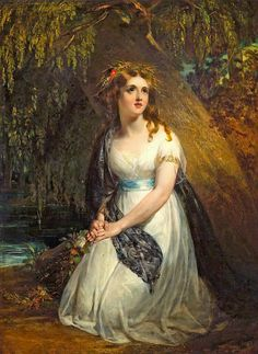 'Ophelia', 1842 Painting by John Wood, British, 1801 - 1870