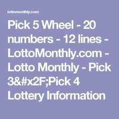 Lottery Pick, Lottery Tickets, Lotto Winners, Lottery Strategy, Online Lottery, Lottery Numbers, Pick 3, 5th Wheels, Learning