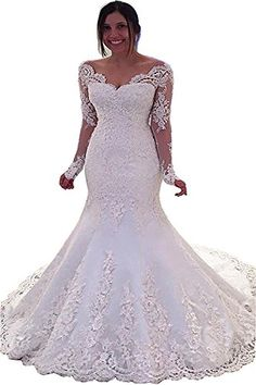 4beb33562a Luccatown Womens Off Shoulder Beaded Lace Appliques Mermaid Wedding Dresses  Bridal Gowns Long Sleeve Ivory US