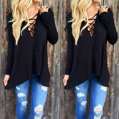 New Women Long Sleeve Shirt Casual Lace Blouse Loose Cotton Tops Lady T Shirt #Unbranded #BasicTee