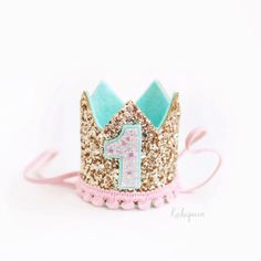 Miniature 1st birthday crown headband gold pink and by Kichiqueen