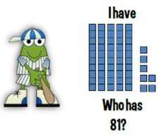 "Here's a set of baseball-themed ""I have, who has?"" cards with base-10 representations of 2-digit numbers."
