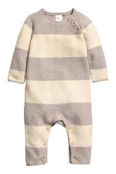 Knitted romper suit - Natural white/Light beige - Kids | H&M GB 1
