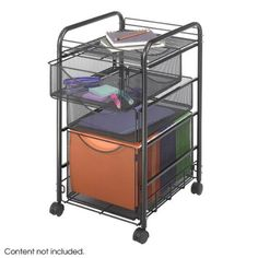 Safco Products 5213 Onyx Mesh Tub File w/ 1 File Drawer & 2 Small Drawers by Safco. $74.95. Get Onyx(tm); organized! Durable, contemporary mesh creates practical organization. Tubular steel frame cart with letter-size file cube keeps hanging files easily accessible. The two storage drawers hold all your office essentials, from pencils to paperclips - it all fits! Stores conveniently under your desk or work surface when not in use. Top shelf stores additional filing ...