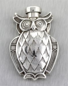 rare vintage tiffany co 925- sterling owl perfume bottle owl.