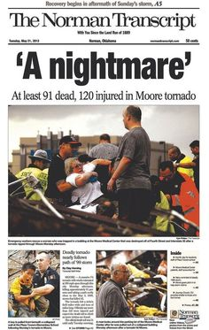 ❦ Newspaper Front Pages After the Oklahoma Tornado [Images: New York Times/The Oklahoman/Tulsa World/New York Post]