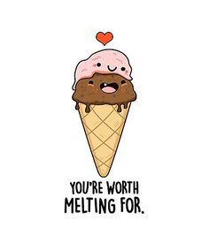"""""""Worth Melting For Food Pun"""" Sticker by punnybone Funny Food Puns, Punny Puns, Cute Jokes, Cute Puns, Cute Food Drawings, Cute Little Drawings, Cute Kawaii Drawings, Funny Doodles, Cute Doodles"""