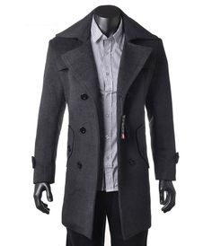 Aliexpress.com : Buy Free shipping wholesale fashion Men wool long trench coat winter outerwear warm jacket busniess double breasted  overcoat from Reliable wool coat suppliers on King World International Trading Limited $69.99