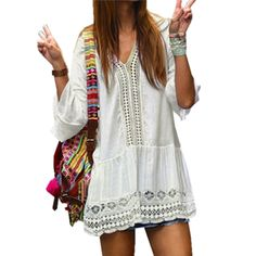 2017 Summer Boho Women Sexy Dress Ladies Lace Crochet Hollow Out V-neck Long Sleeve Casual Mini Short Dresses Vestidos Plus Size