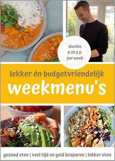 Maak kennis met vier heldere weekmenu's die je gaan helpen om gezond, snel én lekker eten te maken. Met als uitgangspunt dat de recepten plantaardig en vriendelijk zijn voor je portemonnee. Het maken van de weekmenu's kost je slechts 25 euro per persoon per week - en daarvoor heb je recepten om de hele week het ontbijt, lunch als het avondeten te maken.  En zoals je van me gewend bent: simpele instructies, makkelijk te verkrijgen ingrediënten, smaakvolle recepten en goed voor de portemonnee… Budgeting, Tacos, Mexican, Ethnic Recipes, Health, Food, Lasagna, Salud, Meal