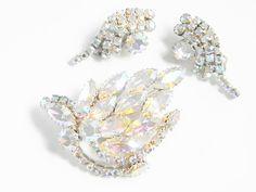 Vintage Clear Crystal Rhinestone Brooch by GrandVintageFinery