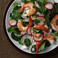 Shrimp is high in protein and very low in fat. Plus, it's delish in this Shrimp With Feta, Radish, Watercress, and Mint Salad. | Health.com