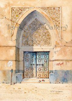 Door A3 Print Arabian Building Arabic Text Arabesque Decorated Archway Blue…