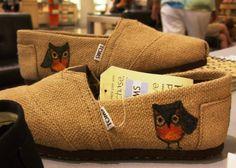 Custom painted OWL Burlap TOMS Shoes by BriteEyedBushyTailed, $90.00