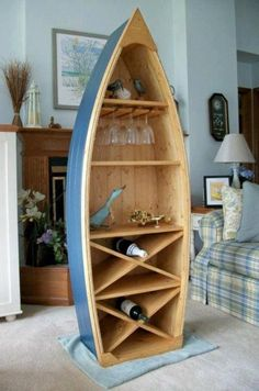 6 Ft Boat Wine Rack Glass Holder bookcase shelf canoe Hand crafted Knotty Pine b. - 6 Ft Boat Wine Rack Glass Holder bookcase shelf canoe Hand crafted Knotty Pine bookshelf nautical f - Wine Shelves, Bookcase Shelves, Boat Bookcase, Glass Shelves, Bookcases, Shelving, Wine Rack Furniture, Boat Furniture, Paint Furniture