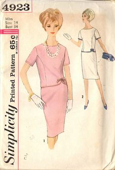 Vintage 1960's Sewing Pattern, Misses Two Piece Dress Size 14, Bust 34, Simplicity 4923 by celebratevintage on etsy.com