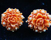 Coral Rose Celluloid Earrings 1940s Rose Flower Pearl Screw Back Vintage Spring Trendy Fashion Jewelry