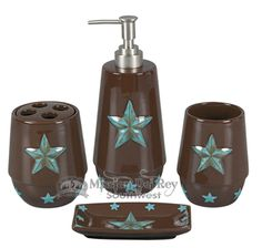 Western Decor Bathroom Set -Turquoise Star (bs1)