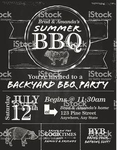 Vector illustration of a BBQ invitation design template.