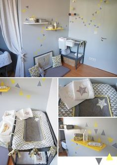 Nursery/ Baby girl Room in Yellow, Grey & Coral Chambre bébé fille en jaune, gris et corail
