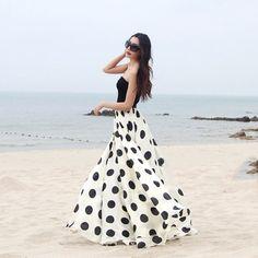 Charming Chiffon Polka Dot Pattern Long Maxi Skirts BlackWhite