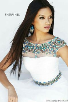 Prom Dresses 2014 - Sherri Hill 21272 Beaded Chiffon white love the colours of the beads and like this for as a blouse or top. Prom Dress 2014, Prom Dress Shopping, Homecoming Dresses, Dresses 2014, Beautiful Gowns, Beautiful Outfits, Gorgeous Hair, Elegant Dresses, Pretty Dresses