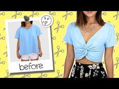 9954e4d1062 DIY : Front knot tied crop top // Tee-shirt noué devant | DIY and ...