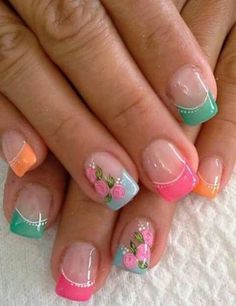 What Christmas manicure to choose for a festive mood - My Nails Summer French Nails, French Tip Nails, Spring Nails, Summer Nails, French Tips, Cute Nails, Pretty Nails, My Nails, Nail Art Halloween