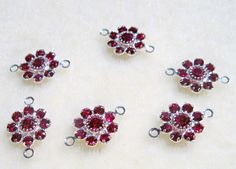 Swarovski Crystal Flower Jewelry Links Connectors 6 pcs siam red by Gstrands on Etsy Red Rhinestone, Rhinestones, Crystal Design, Swarovski Crystal Beads, Crystal Flower, Beaded Lace, Jewelry Supplies, Belly Button Rings, Stud Earrings